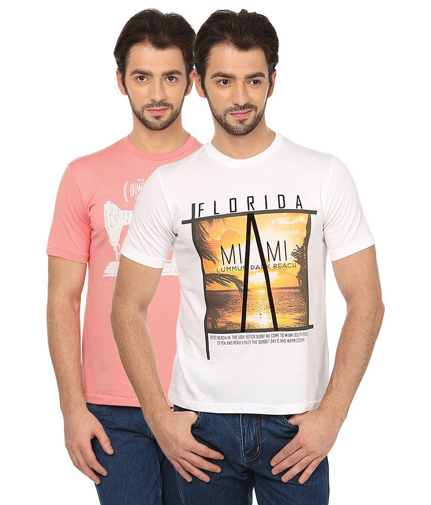 Date And Time Combo Of 2 Pink And White Round Neck T Shirts