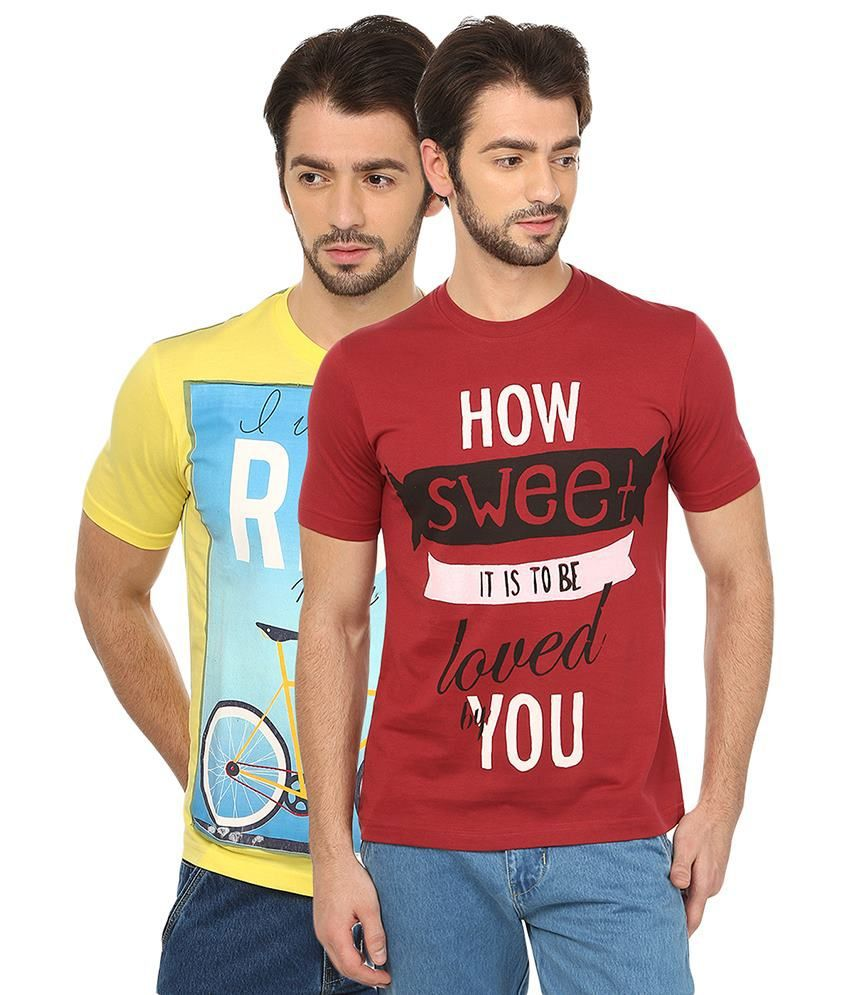 Date And Time Combo Of 2 Yellow & Maroon Round Neck T Shirts
