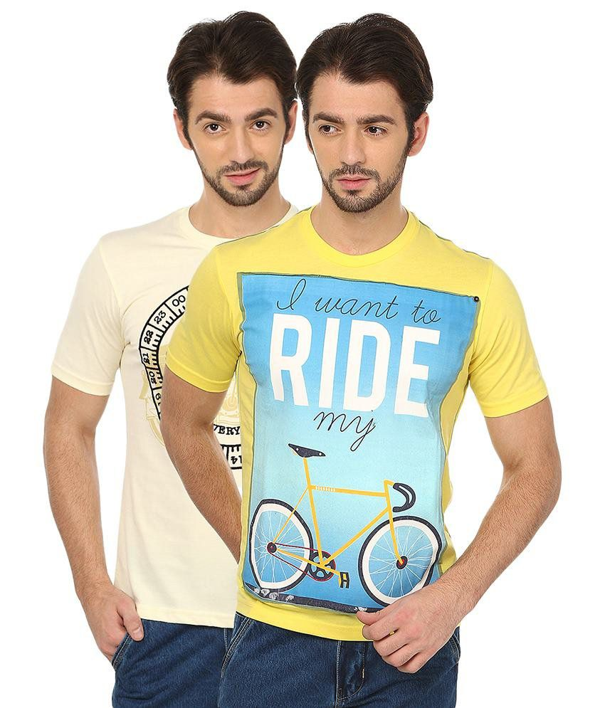 Date And Time Yellow Cotton Blend T-Shirt - Pack of 2