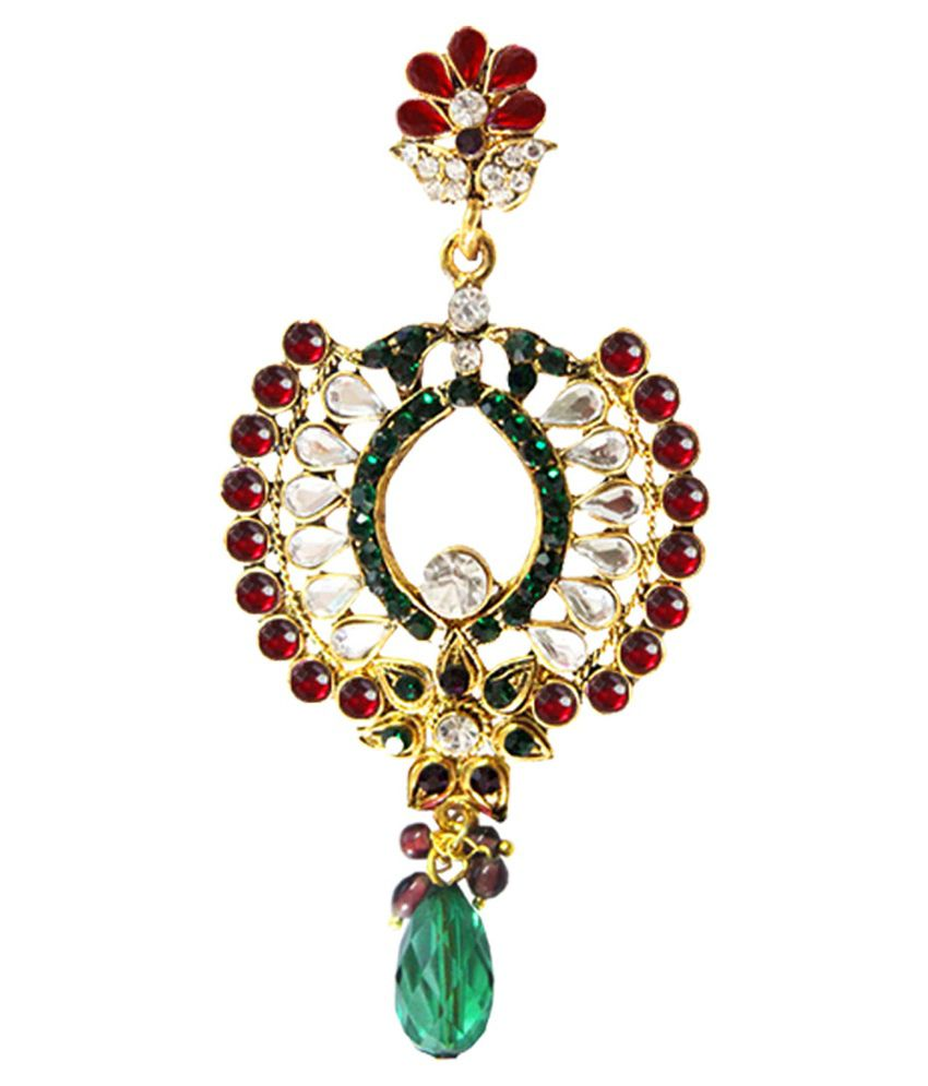 Pihu Gold Plated Maroon Stone With Green Drop Earring