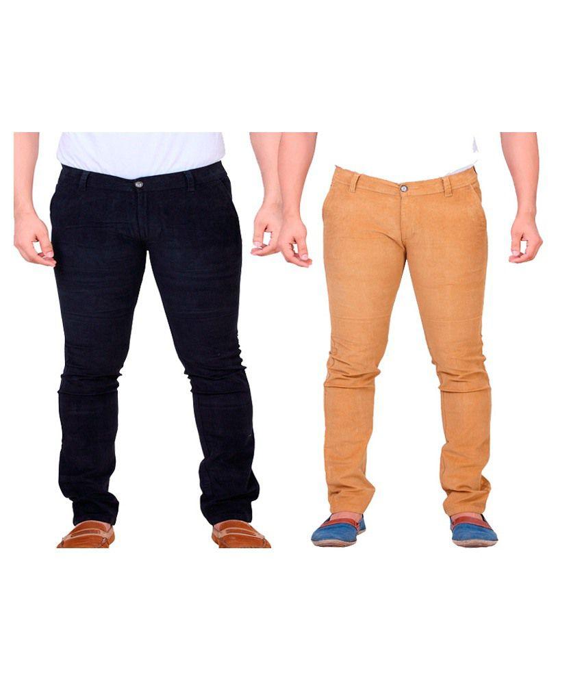Private Image Black & Orange Slim Fit Casual Trouser Pack Of 2