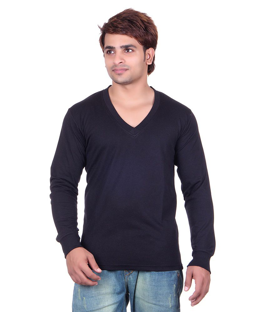 Vivid Bharti Black Cotton Blend V-Neck T-Shirt