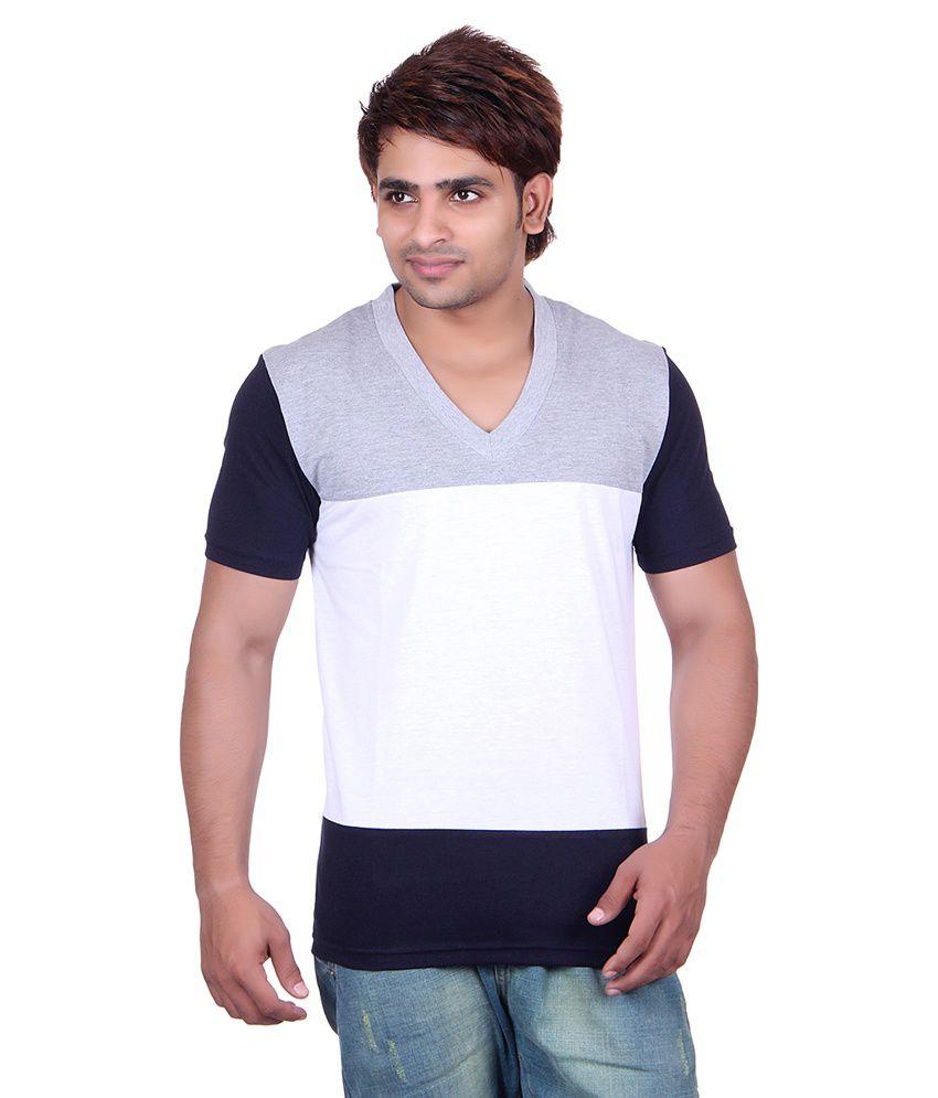 Vivid Bharti Multicolour Cotton Blend V-Neck T-Shirt