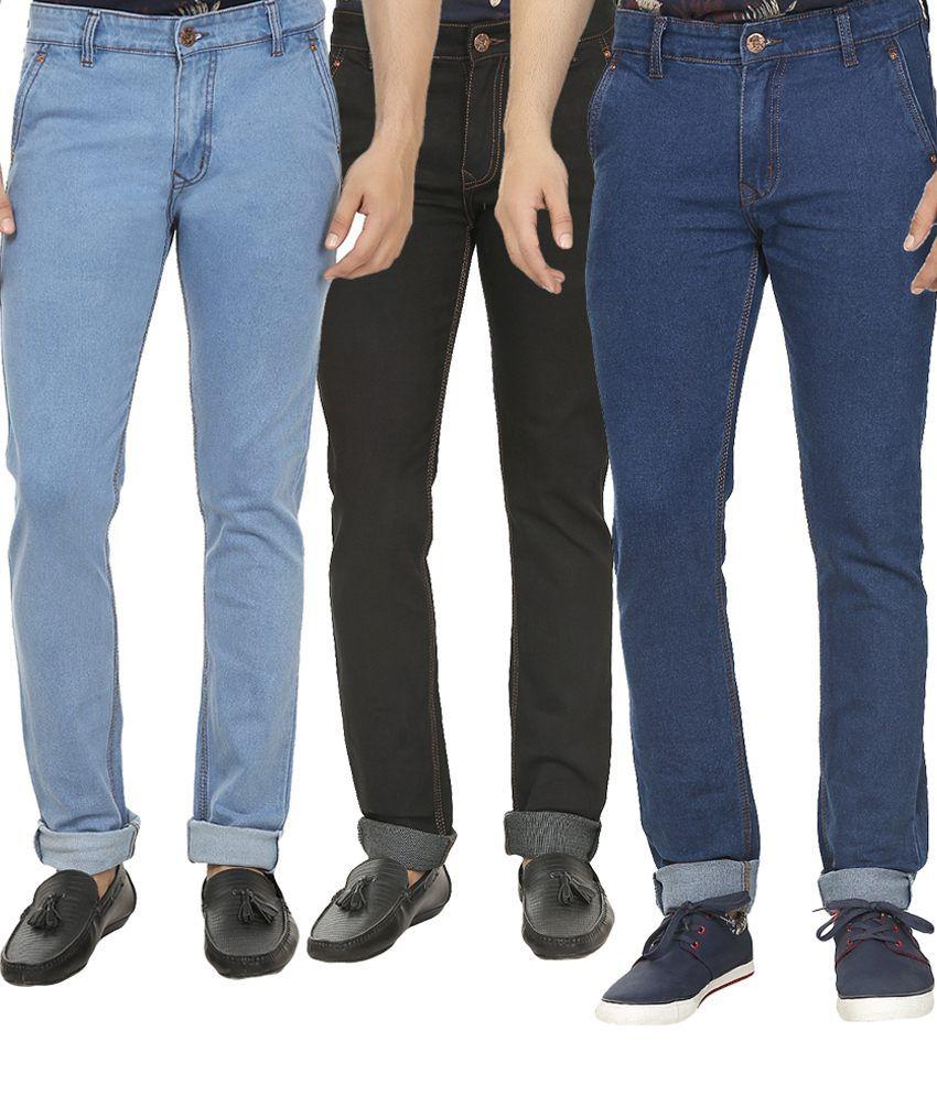 Magic Attitude Multicolour Slim Fit Jeans - Set of 3