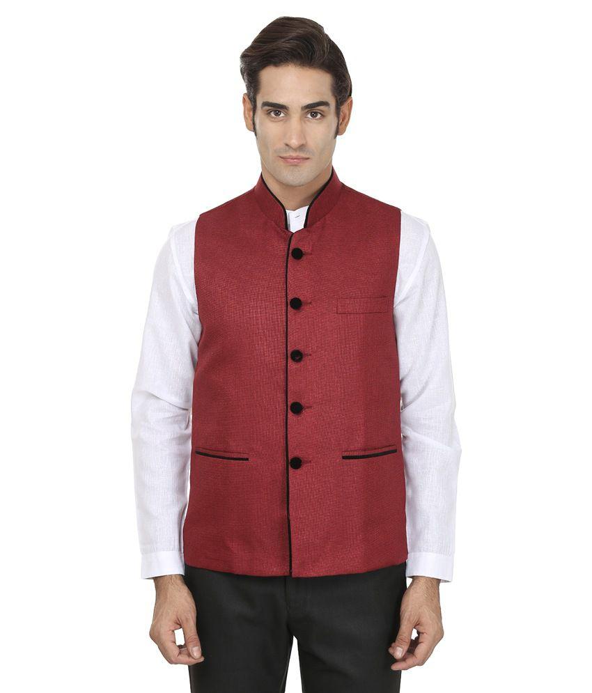 Wintage Red Rayon Waistcoat