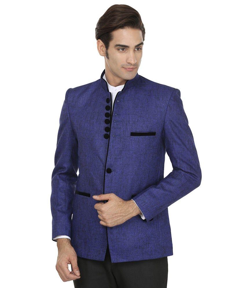 Wintage Solid Charm Blue Rayon Blazer