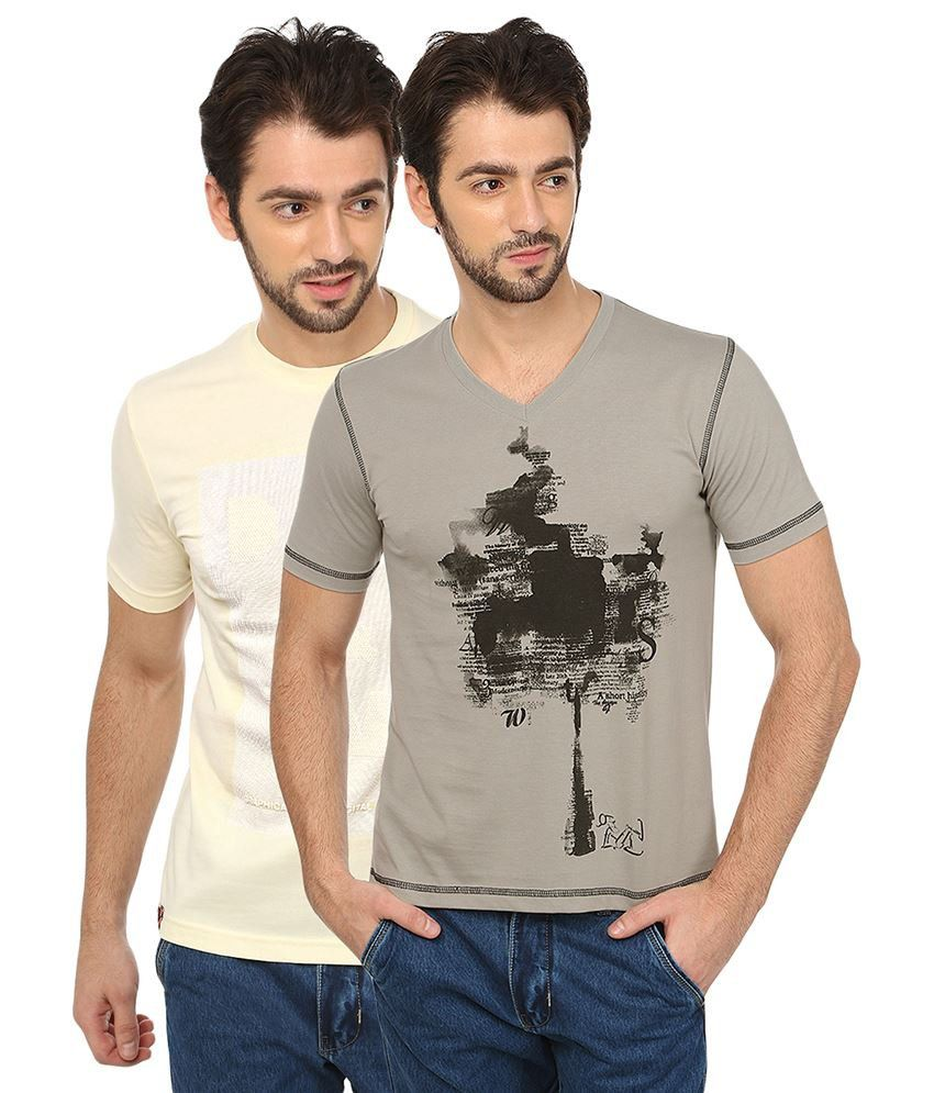 Date And Time Beige And Gray Cotton Blend T-Shirt - Pack Of 2
