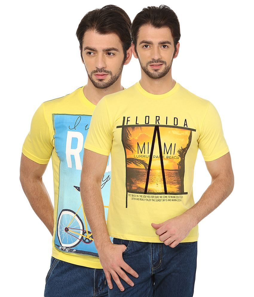 Date And Time Combo Of 2 Yellow Round Neck T Shirts