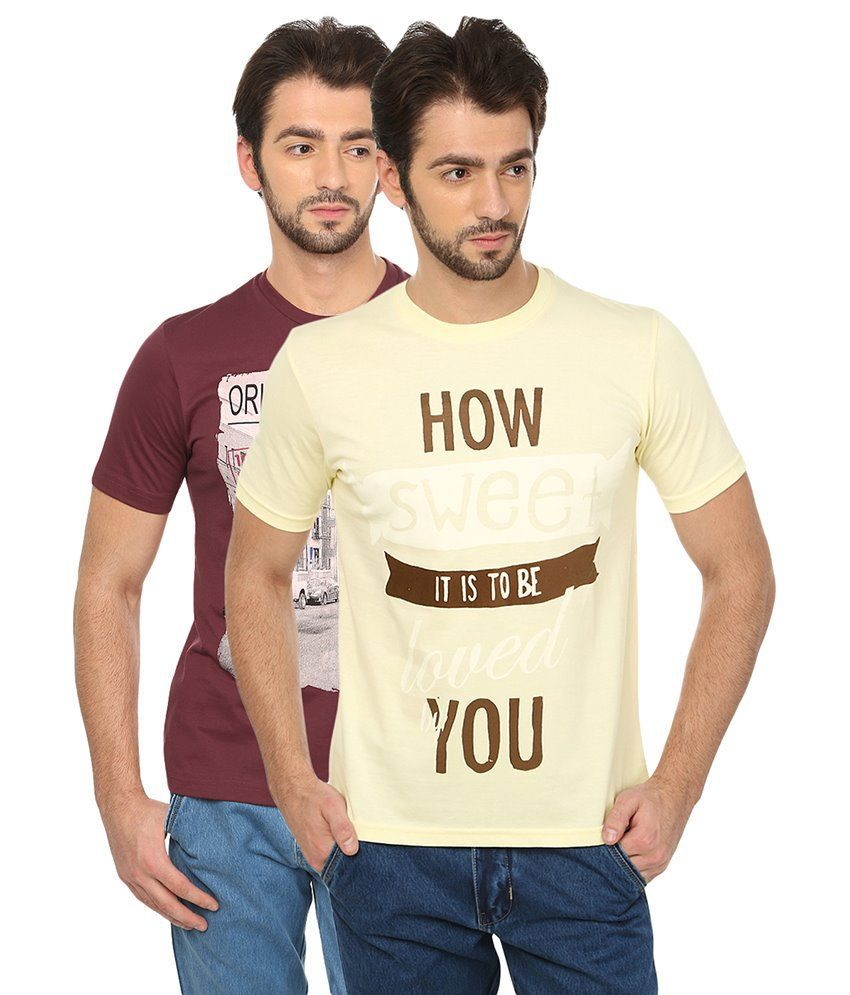 Date And Time Combo Of 2 Red & Beige Round Neck T Shirts