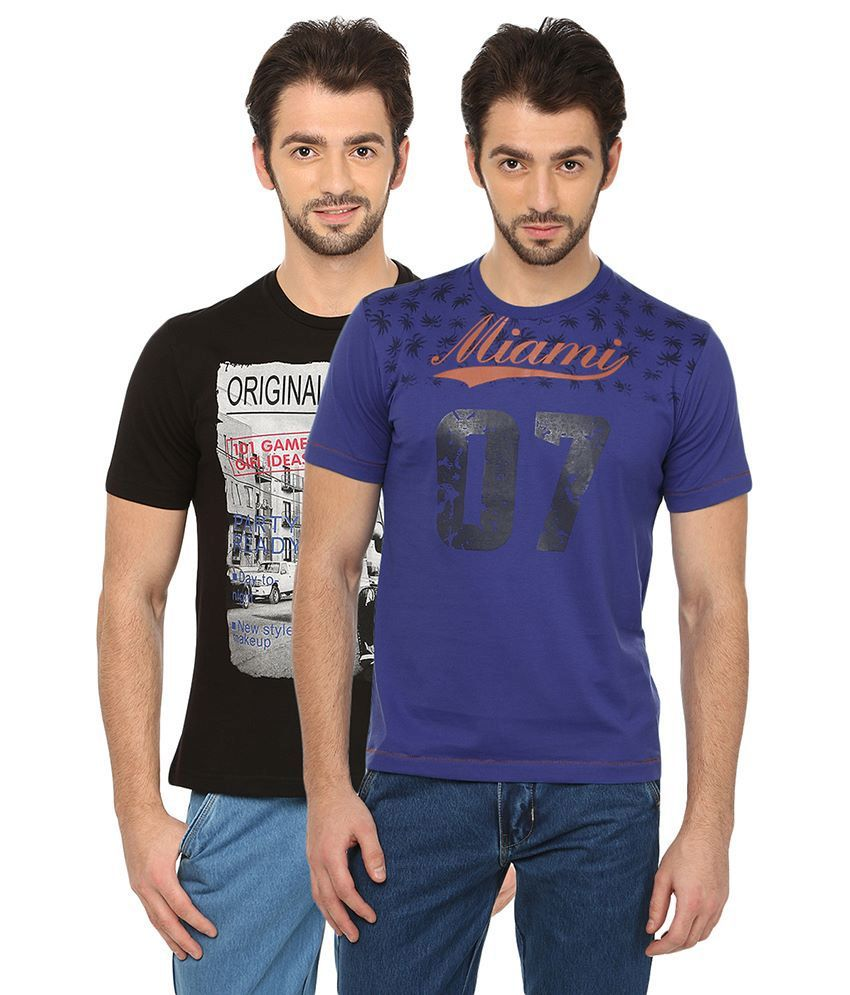 Date And Time Combo Of 2 Black & Blue Round Neck T Shirts