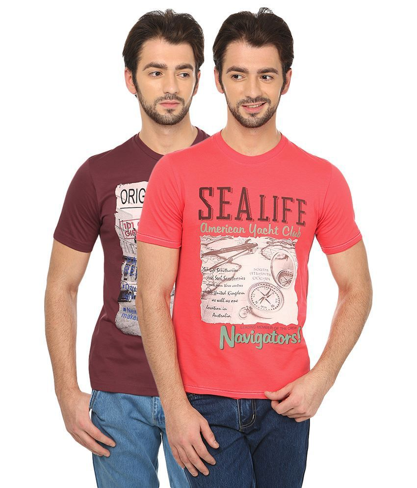 Date And Time Combo Of 2 Red Round Neck T Shirts
