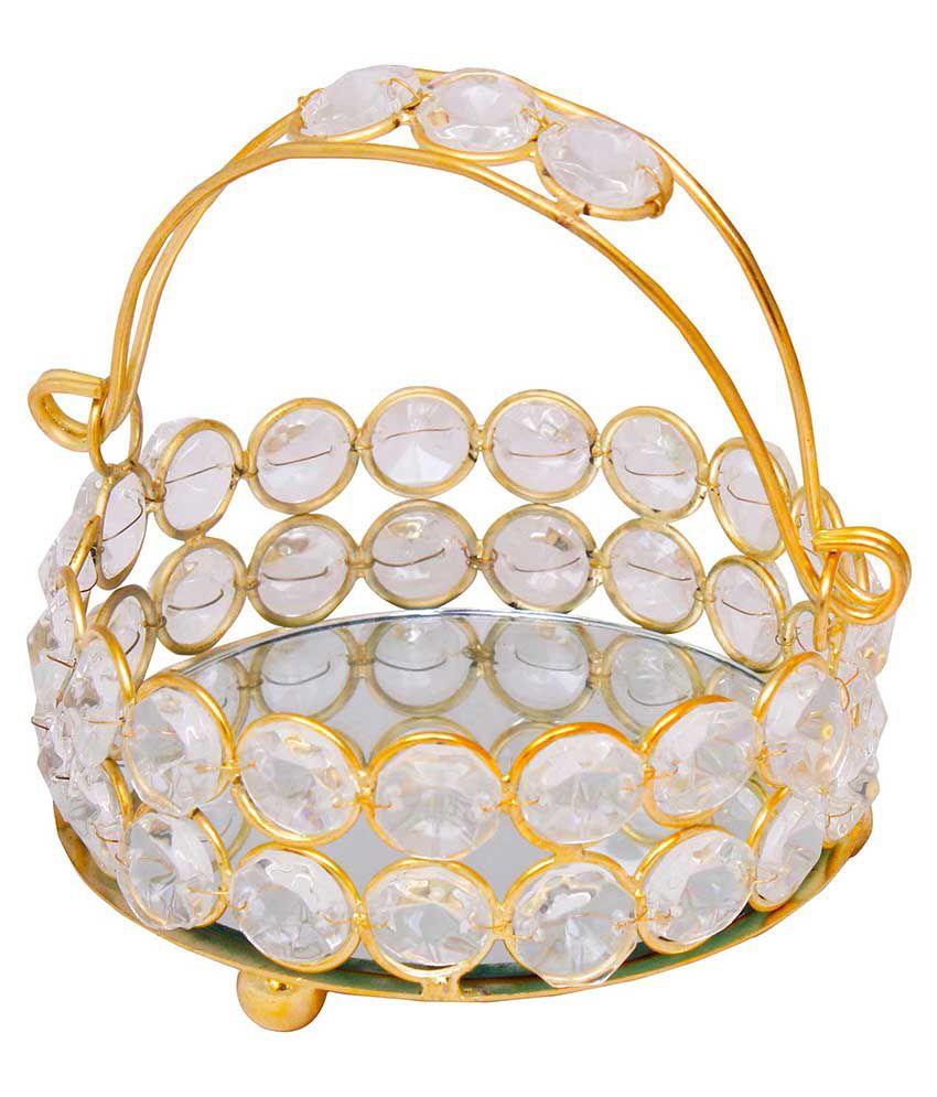 Jaipur Raga Basket Brass, Crystal Decorative Platter