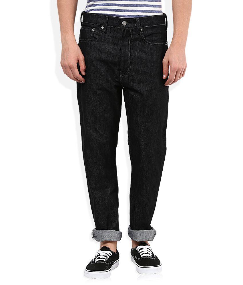 Levi's Black Raw Denim Regular Fit Jeans 522