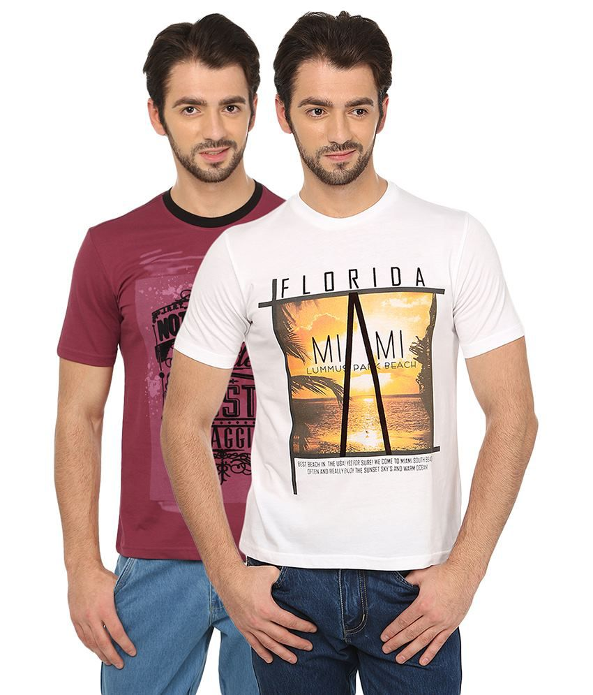 Date And Time Red and White Cotton Blend T-Shirt - Pack of 2
