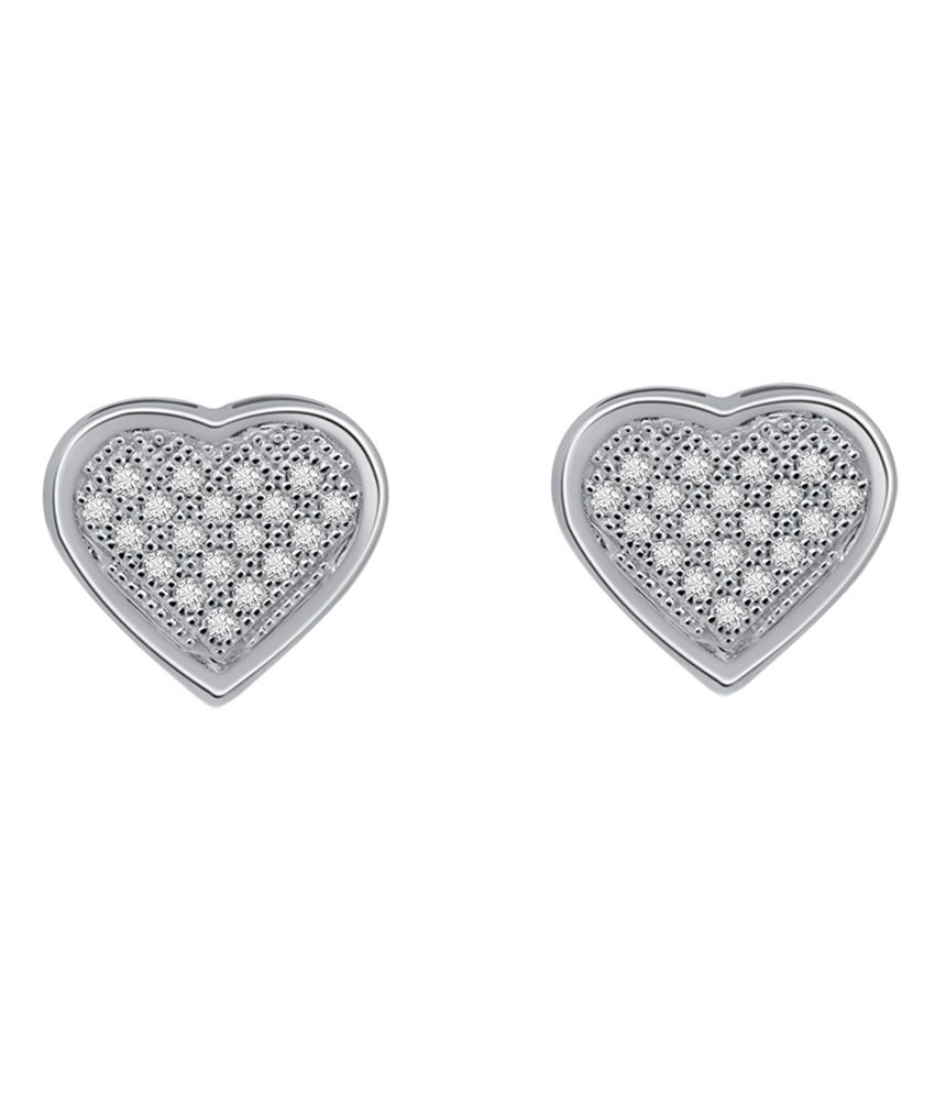 Kataria Jewellers 92.5 BIS Hallmarked Sterling Silver Heart Shaped Stud Earrings