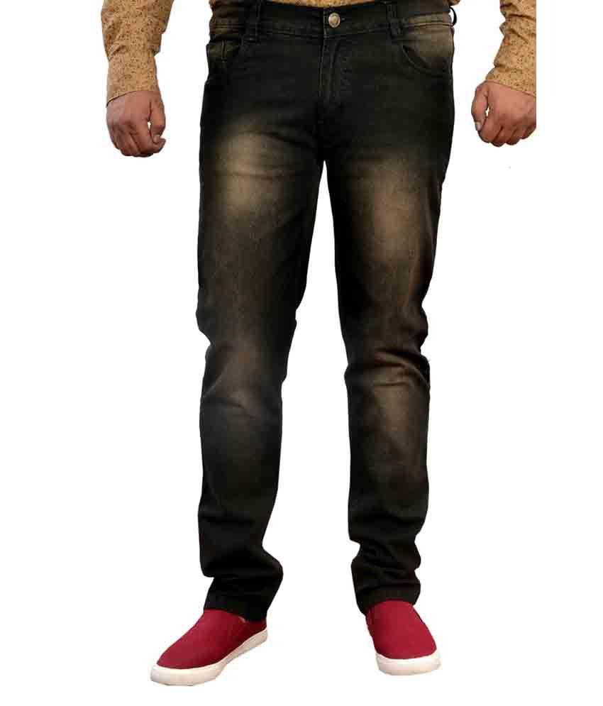 Mark Astro Beige And Black Regular Fit Jeans