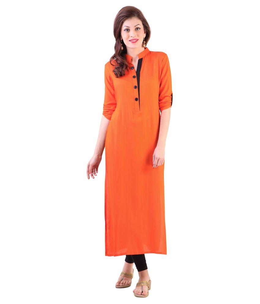Urbane Woman Orange Poly Rayon Kurti