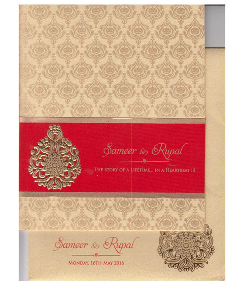 Valavi And Co White Fabric Soft Cover Wedding Card: Buy Online at ...