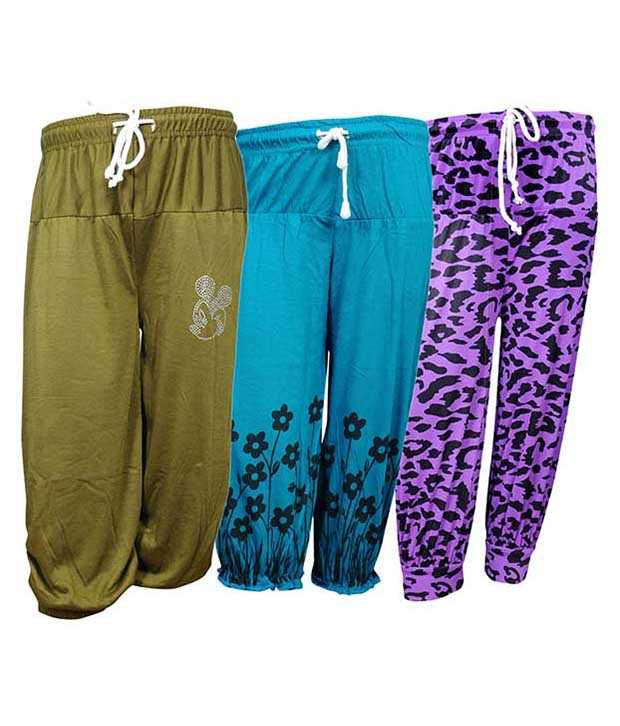 Bodymate Multicolor Capri For Girls - Pack Of 3