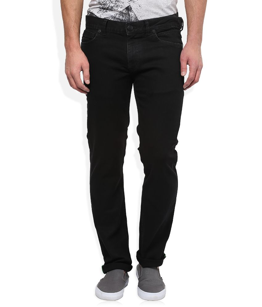 BreakBounce Black Raw Denim Slim Fit Jeans