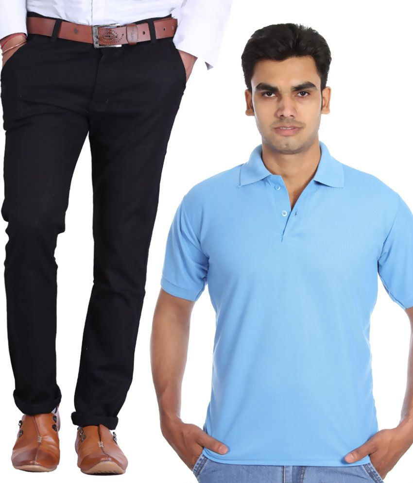 Haltung Black Regular Fit Casual Chinos With Lightblue Polo Tshirt