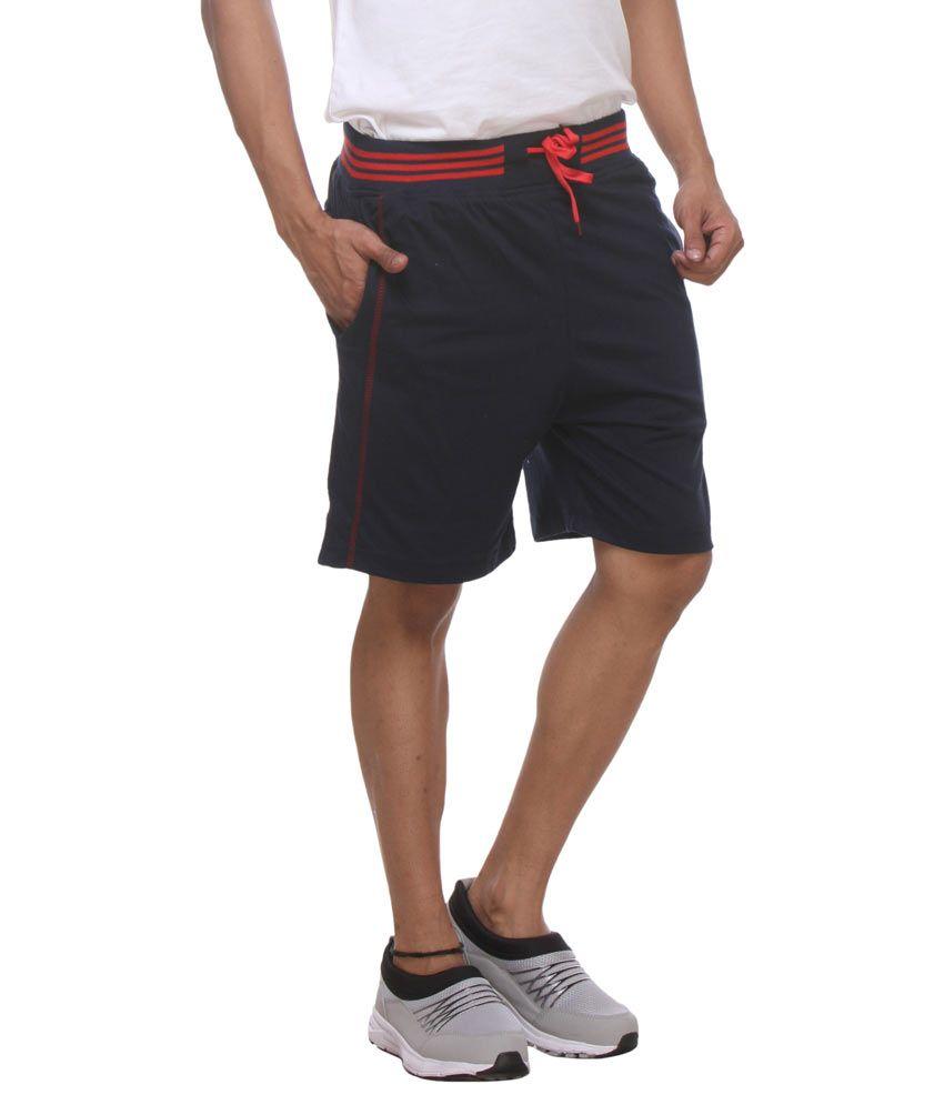 Rocker's Navy Cotton Solid Shorts