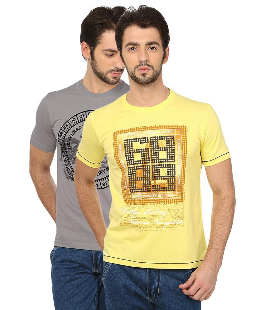 Date And Time Grey & Yellow Cotton Blend T-Shirt Pack Of 2