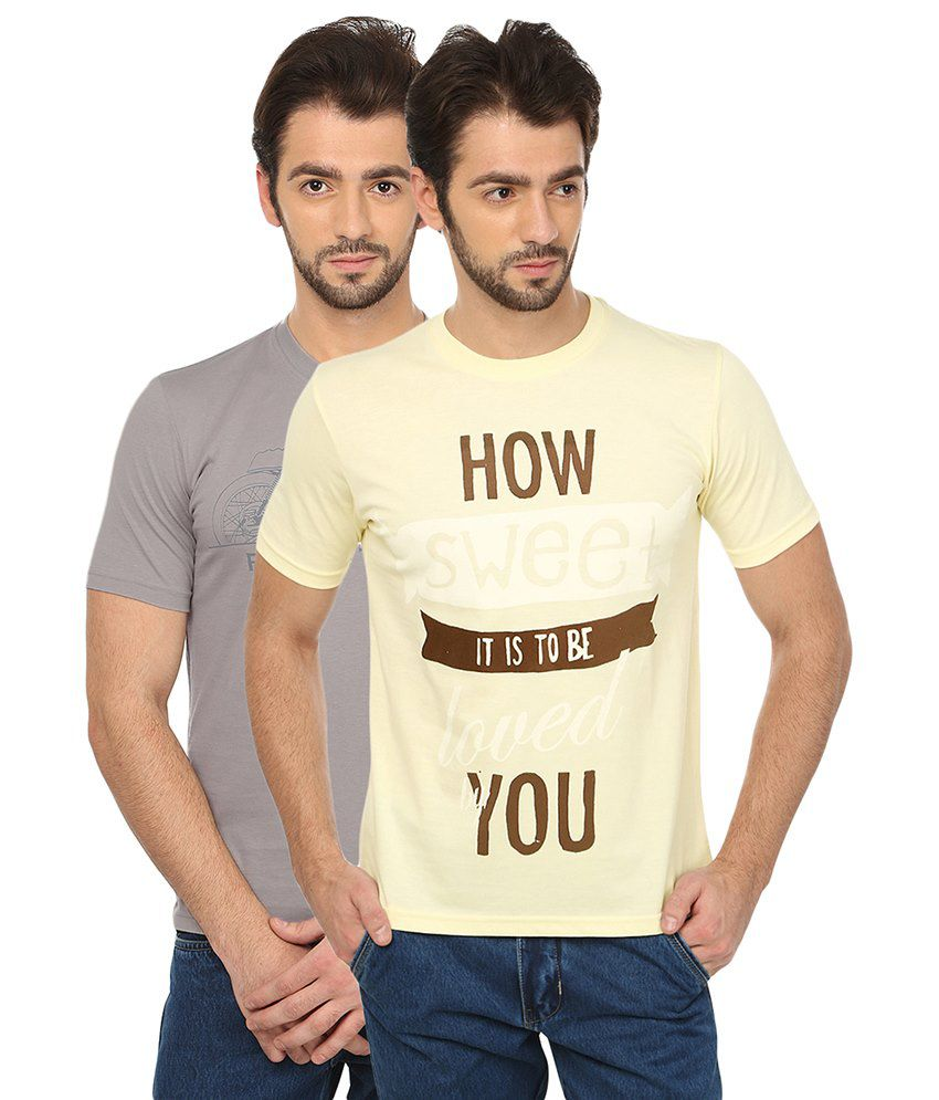 Date And Time Cotton Blend T-Shirt Pack Of 2