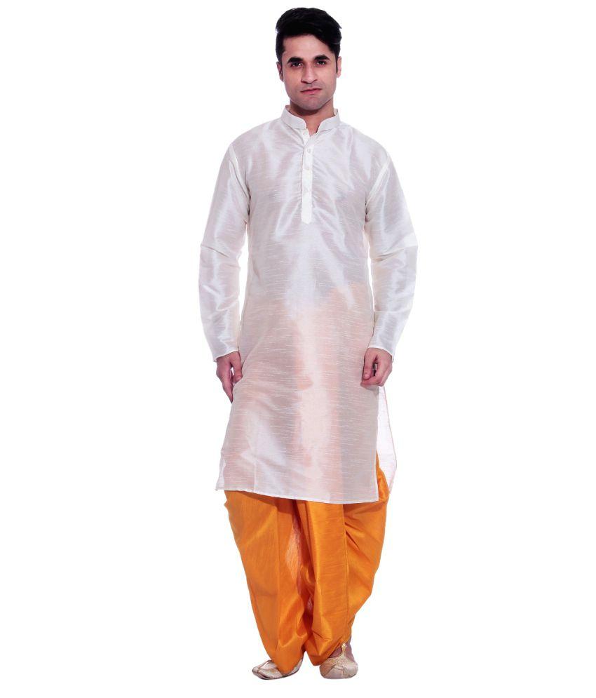 d48637970 Tag 7 White Silk Dhoti Kurta Set - Buy Tag 7 White Silk Dhoti Kurta Set  Online at Low Price in India - Snapdeal
