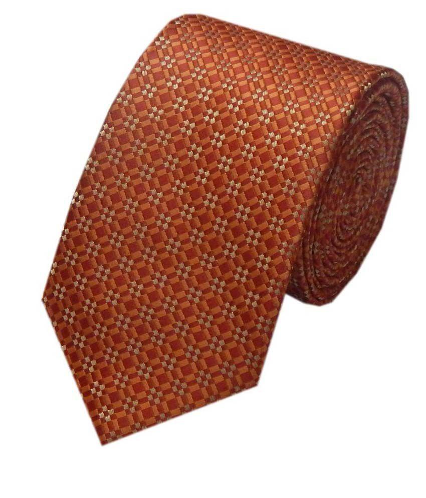 Navaksha Orange Narrow Ties For Men