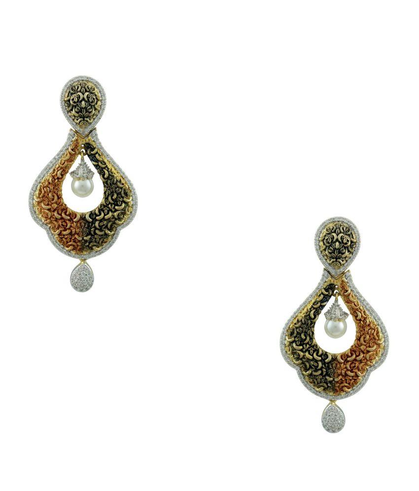 Orniza Golden Brass Hanging Earrings