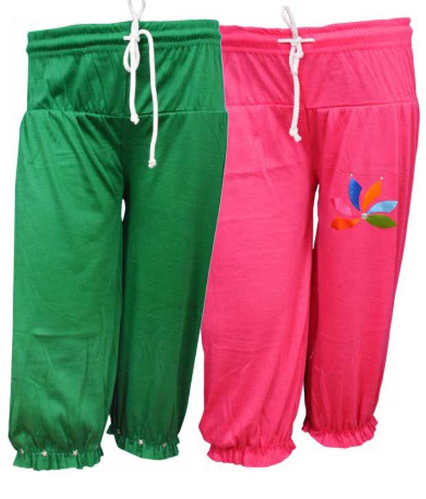 Bodymate Multicolour Cotton Blend Capri - Pack Of 2