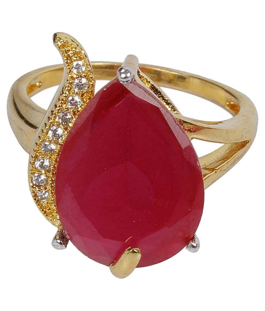 Much More Wedding Disign Finger Ring Ruby Stone Gold ...