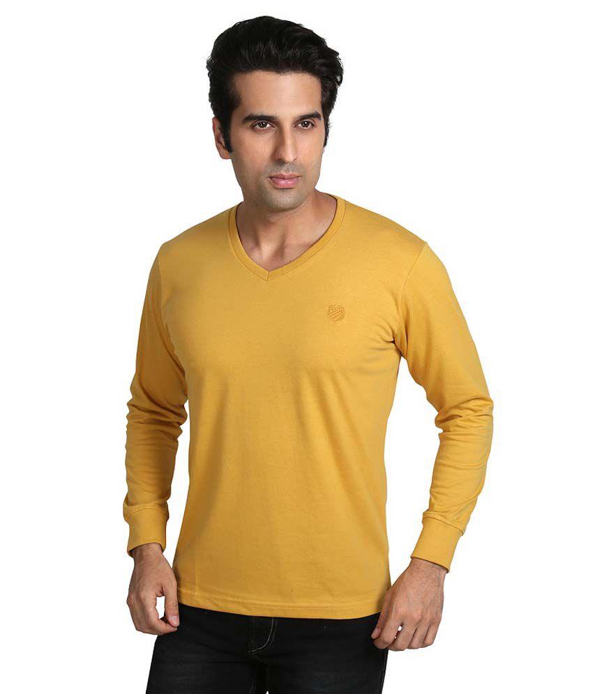Galaxi Mustard V Neck Full Sleeve T Shirt