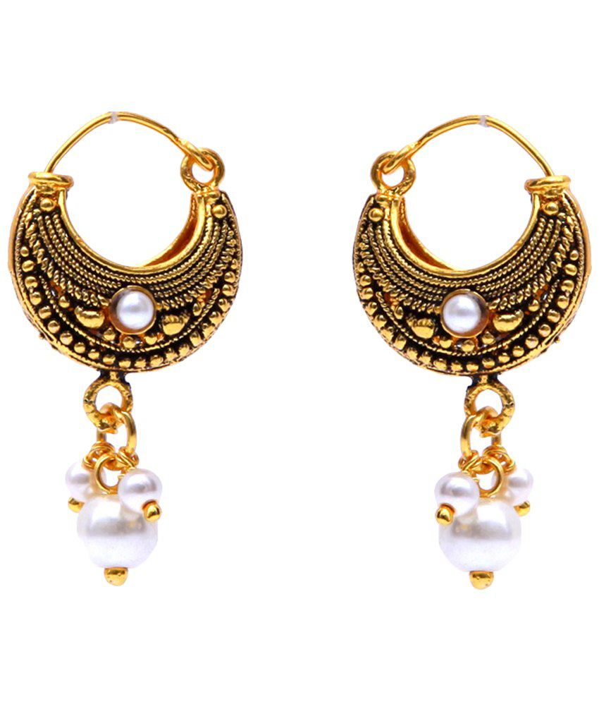 GoldNera Golden Pearl Hoop Earrings