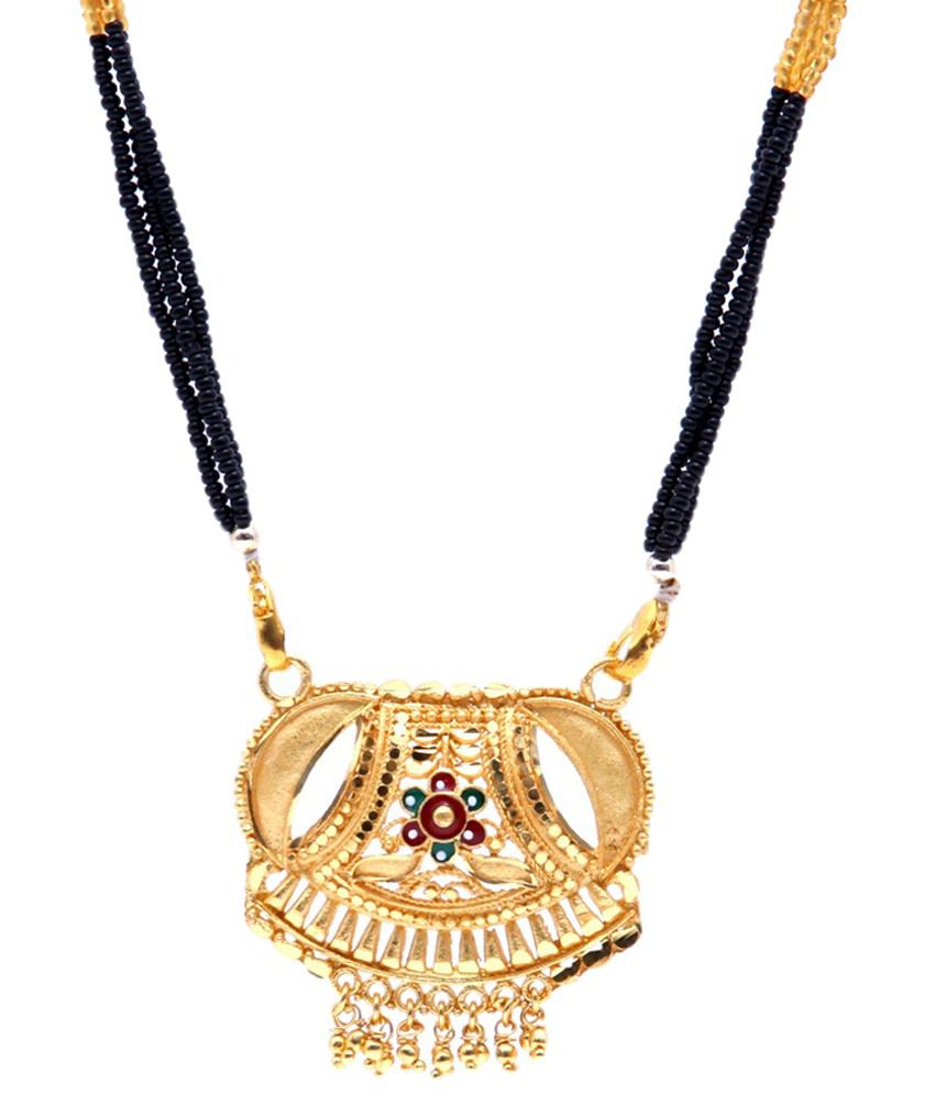 GoldNera Golden & Red Beaded Mangalsutra with Chain