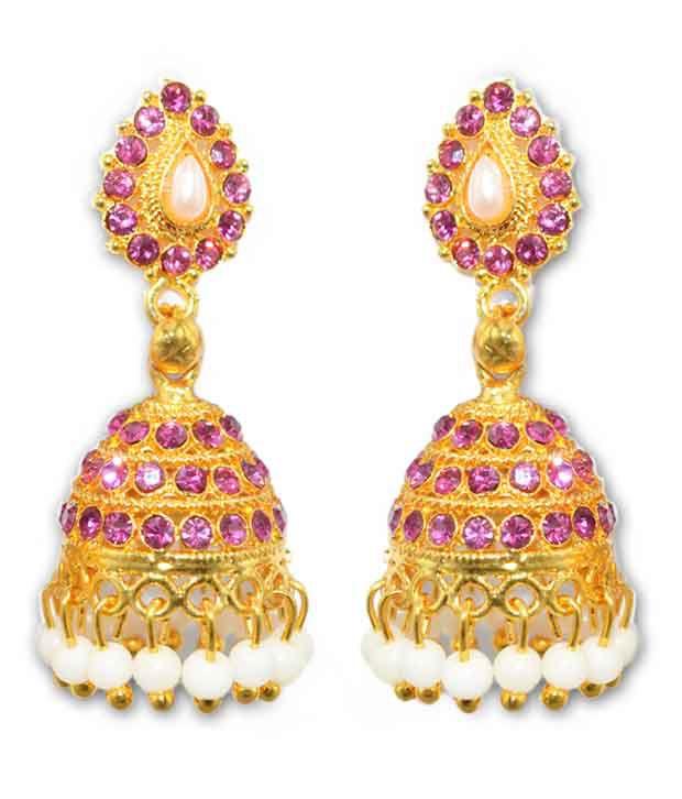 Moshiv Golden Alloy Drop Earrings