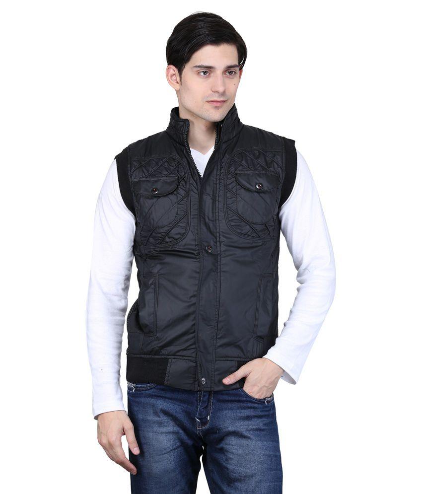 Bravezi Black Sleeveless Polyester Blend Casual Jacket
