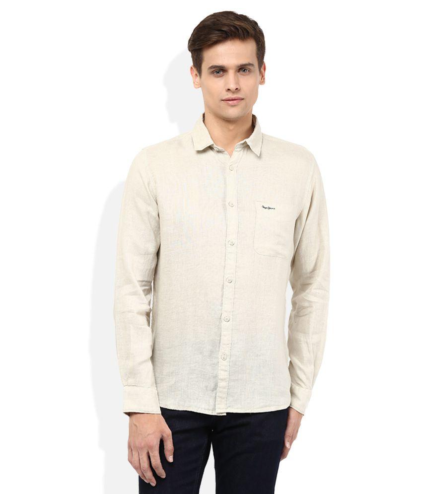 Pepe Jeans Beige Regular Fit Casual Linen Shirt