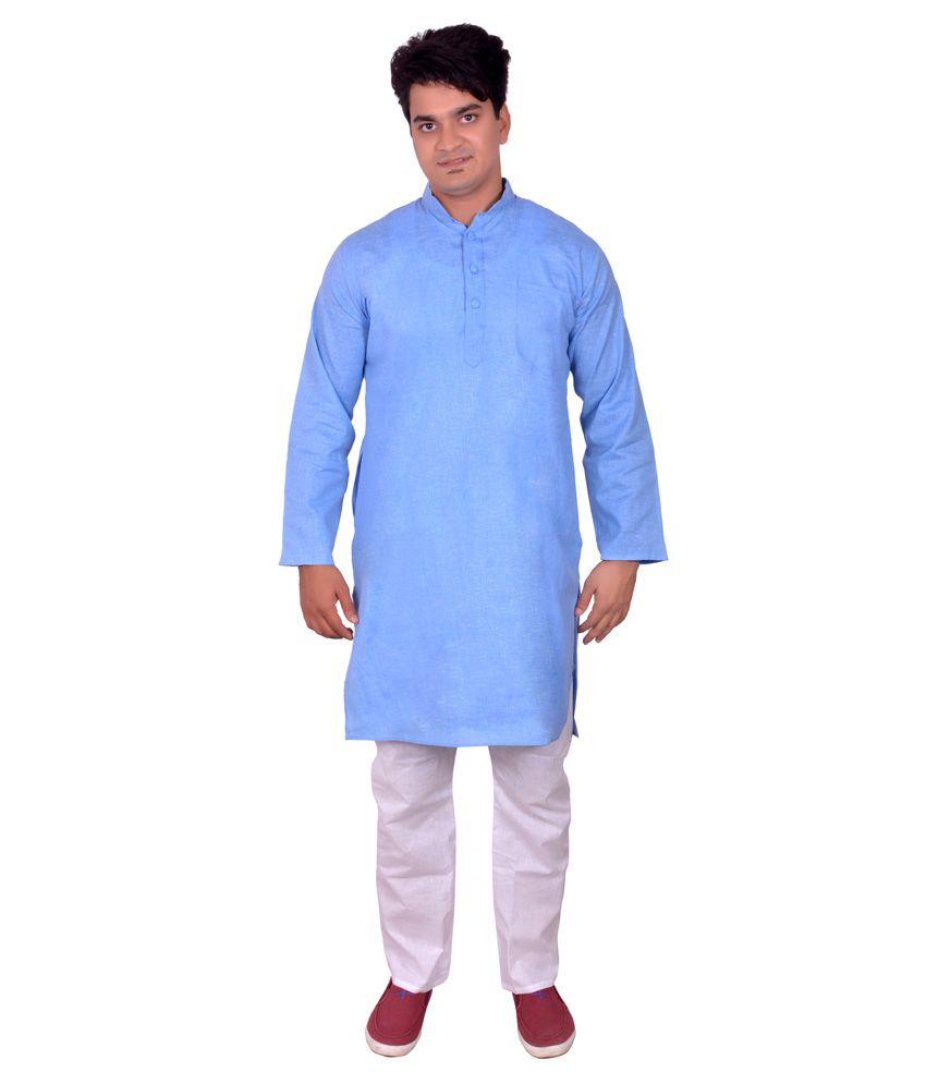 Arzaan Creation's Blue Cotton Blend Kurta