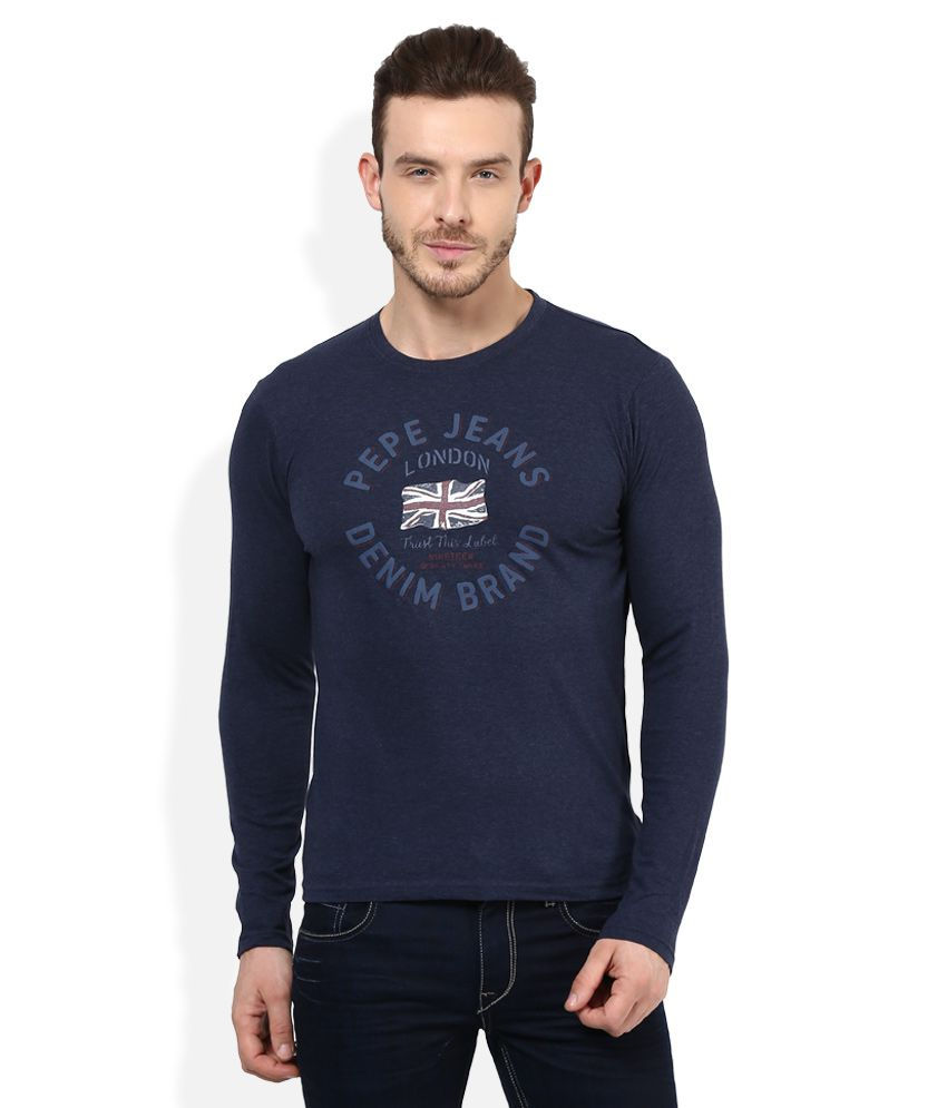 Pepe Jeans Navy Round Full Sleeves Printed T-Shirt