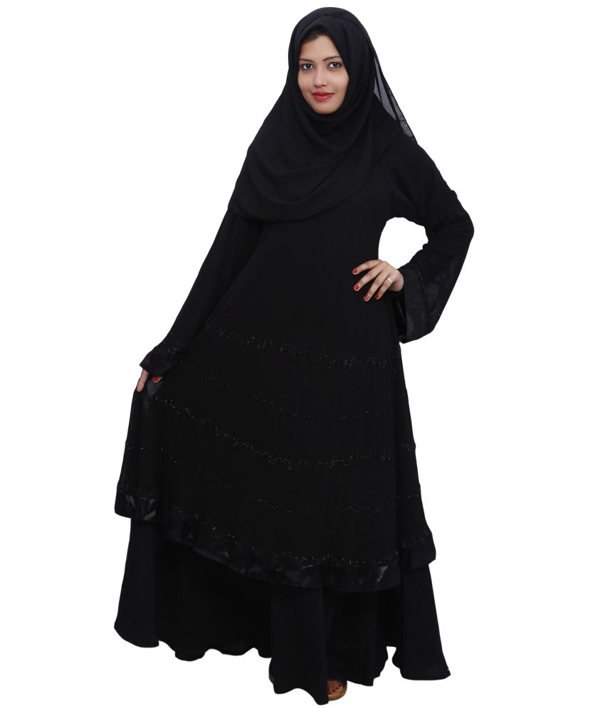 ee7dcb3dcdc4 Dubai Abaya Black Art Silk Burqas Price in India - Buy Dubai Abaya Black  Art Silk Burqas Online at Snapdeal