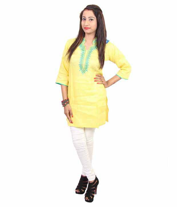Switchon Yellow Cotton Kurti