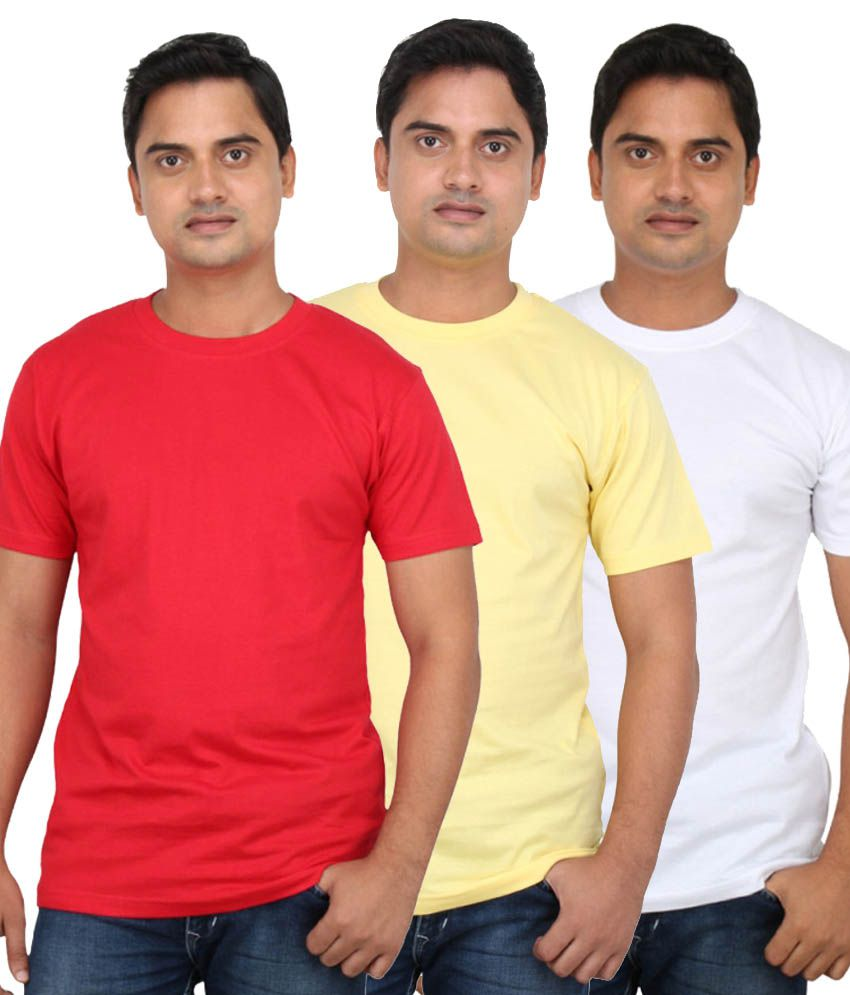 Loox By Apoorti Multicolour Plain Cotton T-Shirt - Pack Of 3