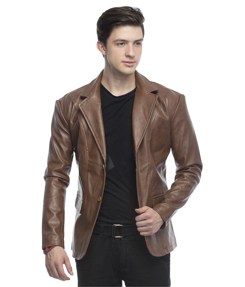 Lambency Brown Leather Blazer