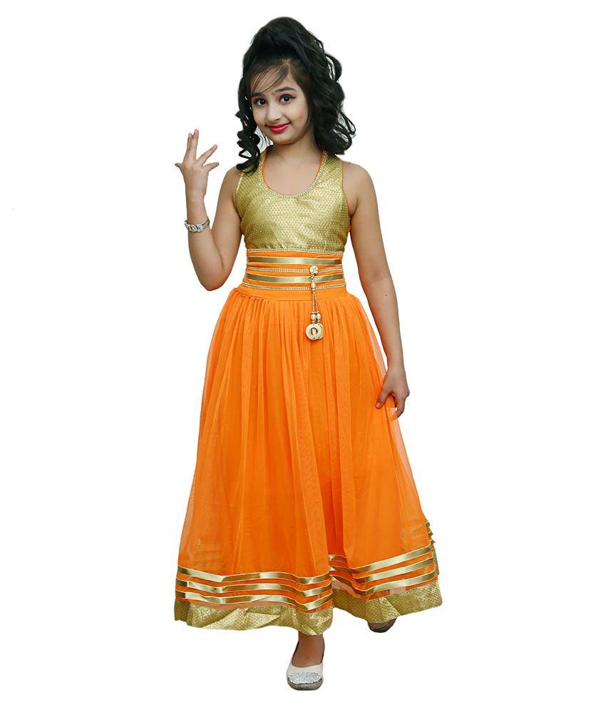 Ishika Garments Orange Gown For Girls Buy Ishika