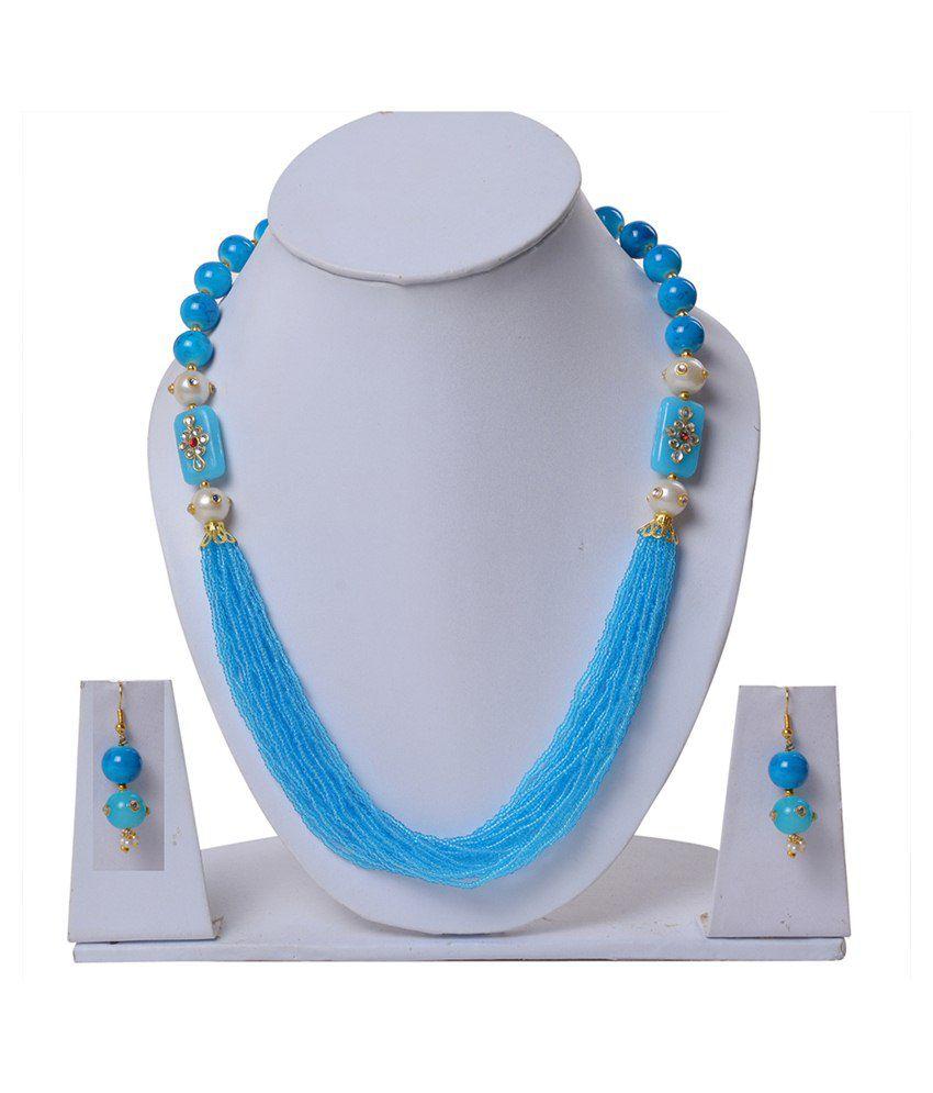 Jewelina Gems Blue Brass Necklace Set