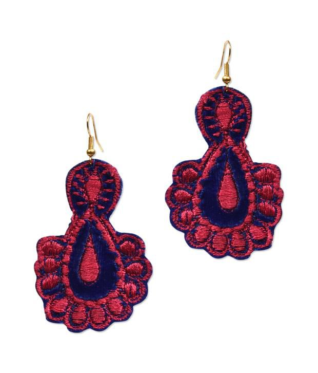 Supriya Red Embroidery Floral Hanging Earrings