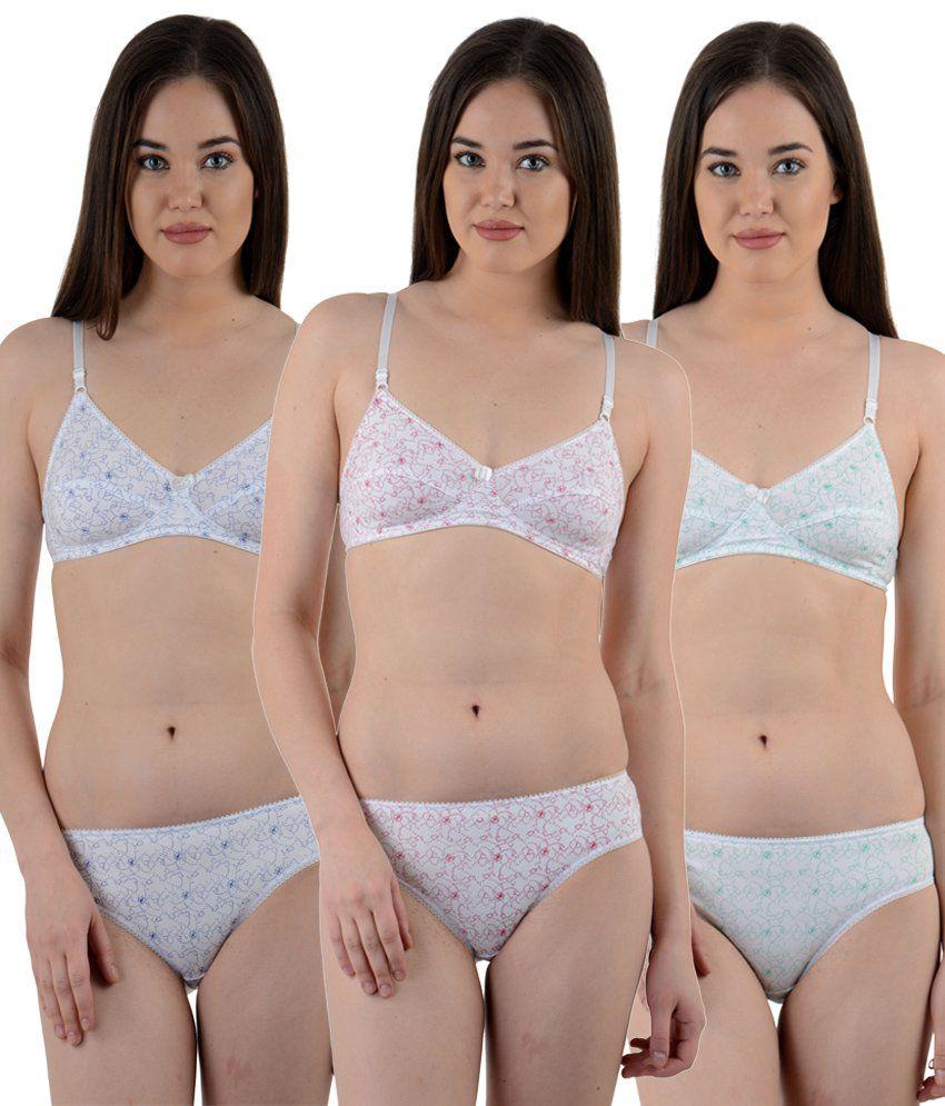Ultrafit White Cotton Bra & Panty Sets -  Pack of 3