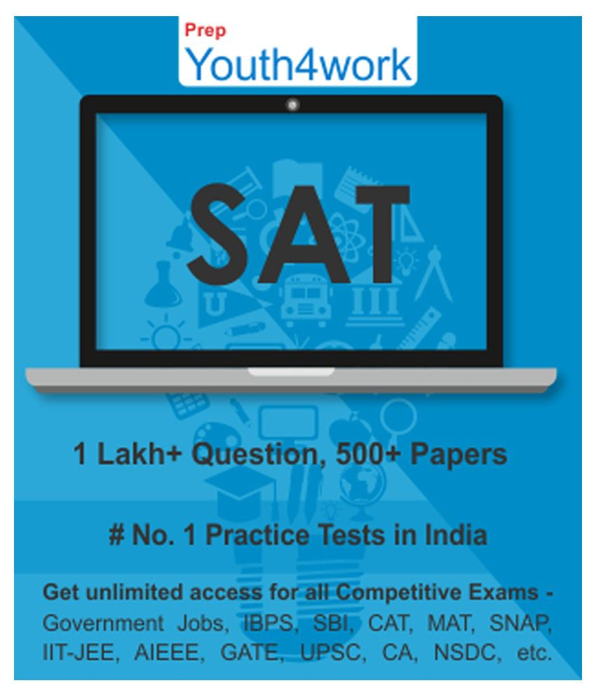 Youth4work SAT Practice Tests Prep Unlimited Access 500 topic wise tests  for All Competitive Exams